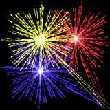 Fuegos artificiales coloridos en el fondo negro Imágenes de archivo libres de regalías