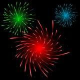 Fuegos artificiales coloridos festivos Imágenes de archivo libres de regalías