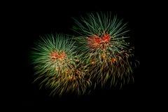 Fuegos artificiales coloridos sobre el cielo oscuro, exhibido durante un evento de la celebración Fotografía de archivo