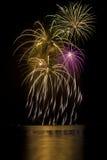 Fuegos artificiales con reflexiones del lago Fotografía de archivo libre de regalías