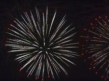 Fuegos artificiales contra el cielo negro Imagen de archivo libre de regalías