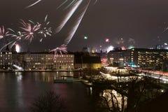 Fuegos artificiales Copenhague Fotos de archivo libres de regalías