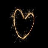 Fuegos artificiales: Corazón por la llama Fotografía de archivo