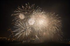 Fuegos artificiales, día de año nuevo 2014 Imagen de archivo libre de regalías