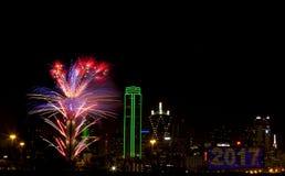 Fuegos artificiales - Dallas Tejas Foto de archivo