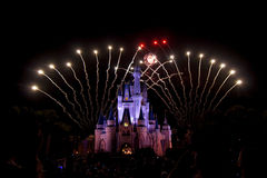 Fuegos artificiales de Disney Foto de archivo