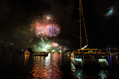 Fuegos artificiales de Eve 2015 de Sydney New Year Fotos de archivo