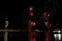 Fuegos artificiales de Gunwharf, Portsmouth Fotografía de archivo