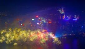 Fuegos artificiales 2014 de Hong Kong Foto de archivo libre de regalías