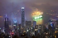 Fuegos artificiales de Hong Kong en Año Nuevo chino Foto de archivo libre de regalías