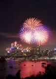 Fuegos artificiales de la ciudad de Sydney Imagenes de archivo