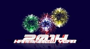 Fuegos artificiales de la Feliz Año Nuevo 2014 Stock de ilustración