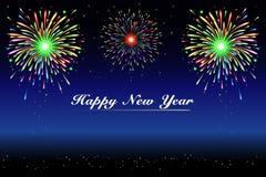 Fuegos artificiales de la Feliz Año Nuevo Imagenes de archivo