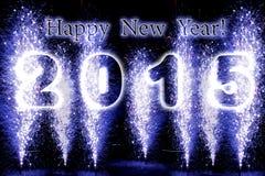 Fuegos artificiales de la Feliz Año Nuevo 2015 Foto de archivo
