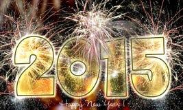 Fuegos artificiales de la Feliz Año Nuevo 2015 Fotos de archivo