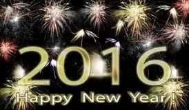 Fuegos artificiales de la Feliz Año Nuevo 2016 Imagen de archivo