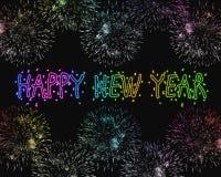 Fuegos artificiales de la Feliz Año Nuevo Foto de archivo libre de regalías