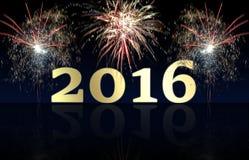 Fuegos artificiales de la Feliz Año Nuevo 2016 Fotografía de archivo