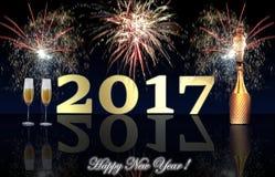 Fuegos artificiales de la Feliz Año Nuevo 2017 Foto de archivo
