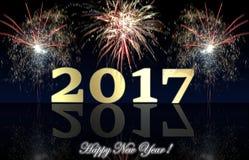Fuegos artificiales de la Feliz Año Nuevo 2017 Imagenes de archivo