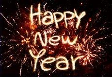 Fuegos artificiales de la Feliz Año Nuevo Imagen de archivo