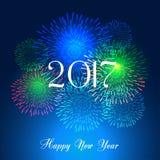 Fuegos artificiales de la Feliz Año Nuevo diseño del fondo de 2017 días de fiesta Fotos de archivo