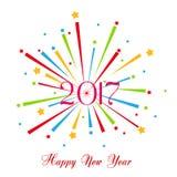 Fuegos artificiales de la Feliz Año Nuevo diseño del fondo de 2017 días de fiesta Foto de archivo libre de regalías