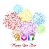 Fuegos artificiales de la Feliz Año Nuevo diseño del fondo de 2017 días de fiesta Fotos de archivo libres de regalías