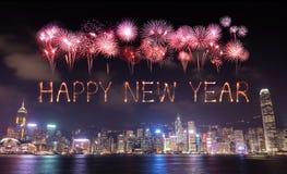 2017 fuegos artificiales de la Feliz Año Nuevo que celebran sobre la ciudad de Hong Kong Fotografía de archivo libre de regalías