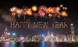 2017 fuegos artificiales de la Feliz Año Nuevo que celebran sobre la ciudad de Hong Kong Fotos de archivo