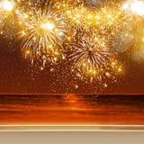 Fuegos artificiales de la Feliz Año Nuevo Imágenes de archivo libres de regalías