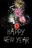 Fuegos artificiales de la Feliz Año Nuevo Fotos de archivo