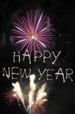 Fuegos artificiales de la Feliz Año Nuevo Foto de archivo