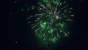 Fuegos artificiales de la noche del color verde metrajes