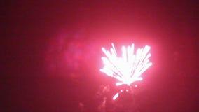 Fuegos artificiales de la noche en el cielo por un día de fiesta metrajes