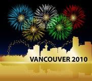 Fuegos artificiales de las Olimpiadas de Vancouver Foto de archivo