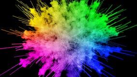 Fuegos artificiales de las pinturas aisladas en fondo negro con los rastros agradables explosión del polvo o de la tinta coloread