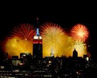 Fuegos artificiales de Manhattan Foto de archivo libre de regalías