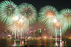 Fuegos artificiales de New York City Imagen de archivo libre de regalías