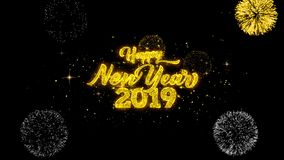 Fuegos artificiales de oro del texto del Año Nuevo 2019 de las partículas de oro del centelleo exhibir el movimiento