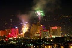 Fuegos artificiales de Reno Nevada Foto de archivo
