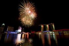 Fuegos artificiales de Singapur Foto de archivo