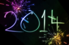 2014 fuegos artificiales del Año Nuevo Fotografía de archivo libre de regalías