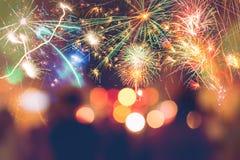 Fuegos artificiales del Año Nuevo Amor Foto de archivo libre de regalías