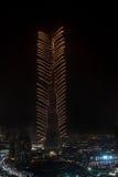 Fuegos artificiales del Año Nuevo de Dubai Imagen de archivo libre de regalías