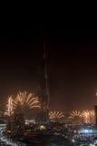 Fuegos artificiales del Año Nuevo de Dubai Fotos de archivo libres de regalías