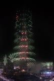 Fuegos artificiales del Año Nuevo de Dubai Foto de archivo libre de regalías