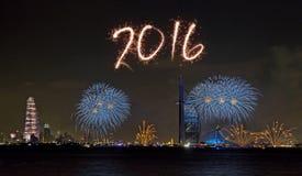 Fuegos artificiales 2016 del Año Nuevo de Dubai Foto de archivo libre de regalías
