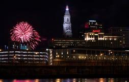Fuegos artificiales del Año Nuevo de Hartford Connecticut Imágenes de archivo libres de regalías