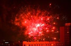 Fuegos artificiales del Año Nuevo en Berlín Foto de archivo
